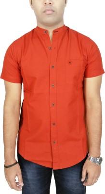 Southbay Men's Solid Formal Linen Orange Shirt