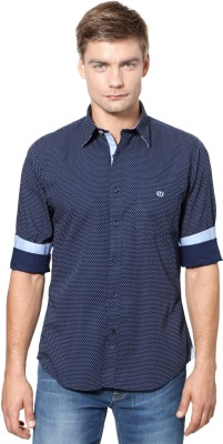Van Heusen Men's Polka Print Sports Dark Blue Shirt