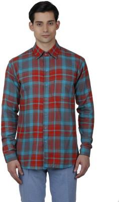 Baba Rancho Men's Checkered Casual Orange Shirt
