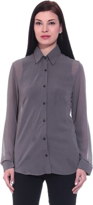 Dinero Women's Solid Casual Grey Shirt