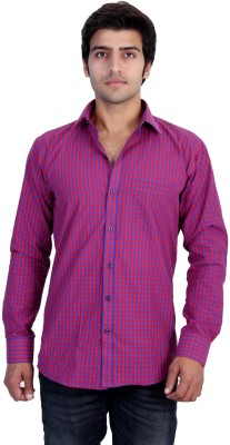 25th R Men,s Checkered Casual Red Shirt