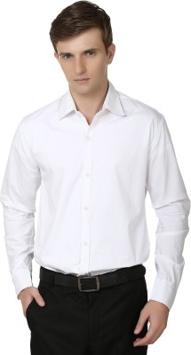 Alan Woods Men's Solid Casual White Shirt