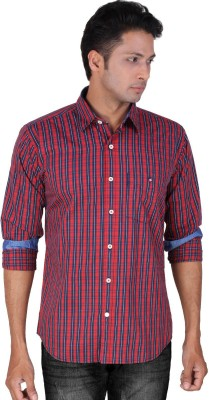 Dave Men's Checkered Casual Blue, Red Shirt