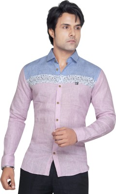 Matchles Men,s Printed Casual Linen Pink Shirt