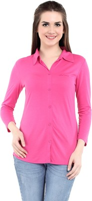 Her Grace Women's Solid Casual Pink Shirt