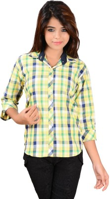 Jazzy Ben Women,s Checkered Casual Yellow Shirt