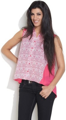 Remanika Women,s Printed Casual Pink Shirt