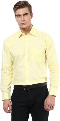 The Vanca Men's Striped Formal Yellow Shirt