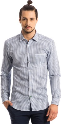 Specimen Men's Checkered Casual Blue Shirt