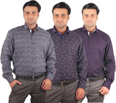 RIPARV Men's Printed Formal Blue Shirt