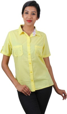 Old Khaki Women's Solid Casual Yellow Shirt