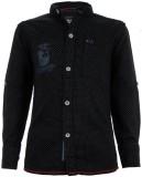 Einstein Boys Printed Casual Black Shirt