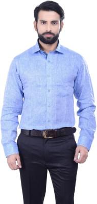 Alpha Centauri Men's Solid Casual Linen Light Blue Shirt