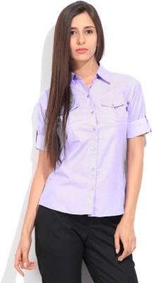 STYLE QUOTIENT BY NOI Women's Solid Formal Purple Shirt