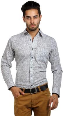 S9 Men's Printed, Paisley Casual White, Black Shirt