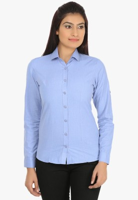 Fashion Cult Women's Solid Casual Blue Shirt