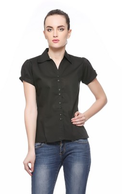 Fasnoya Womens Solid Casual Black Shirt