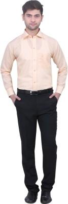Trustedsnap Men's Solid Formal Linen Orange Shirt