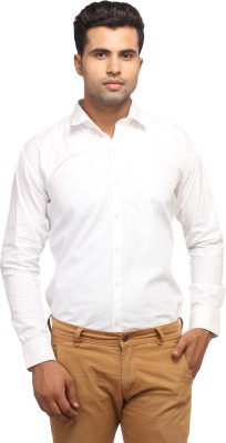 Orizzonti Men's Solid Casual White Shirt