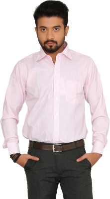 Indian Weller Men's Solid Formal Pink Shirt