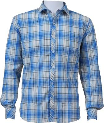 Ardeur Men's Checkered Casual Light Blue Shirt
