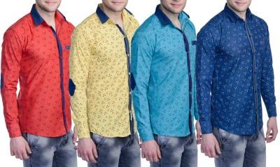 Aligatorr Men's Printed Formal Blue, Yellow, Red, Light Blue Shirt