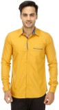 Wineberry Men's Solid Casual Yellow Shir...