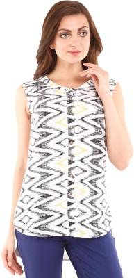 Mustard Women's Printed Casual Black, White Shirt