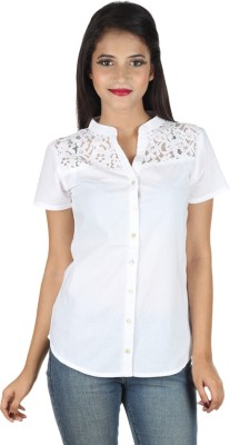 IndiFrench Moda Women's Self Design Casual White Shirt
