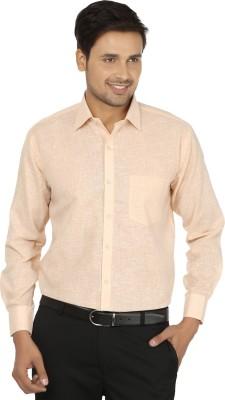 X-Cross Men's Self Design Formal Yellow Shirt