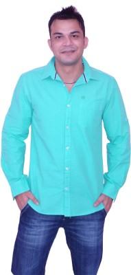 Blue Star Men's Solid Casual Light Green Shirt