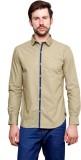 99 Hunts Men's Solid Casual Beige Shirt