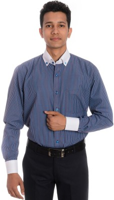 Tag & Trend Men's Checkered Formal Blue Shirt