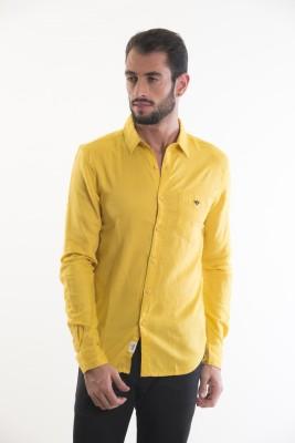 Kart & Kriss Men's Solid Festive Yellow Shirt