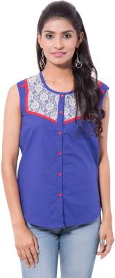 Viba London Women's Solid Casual Blue Shirt