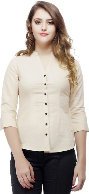 ORIANNE Women's Solid Formal Brown Shirt