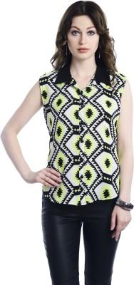 Belly Bottom Women's Geometric Print Party Yellow Shirt