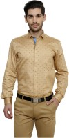 Miche Jeffer Formal Shirts (Men's) - Miche Jeffer Men's Printed Formal Yellow Shirt