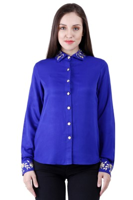 NumBrave Women's Solid Casual Blue Shirt