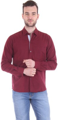 Routeen Men's Solid Casual Blue, Maroon Shirt