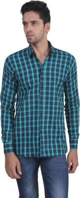 Apurva Men's Checkered Casual Green Shirt