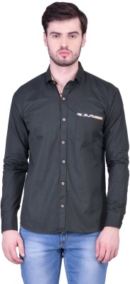 THE SHIRT FACTORY Men's Solid Casual Black Shirt