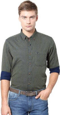 Allen Solly Men's Striped Casual Dark Green Shirt