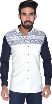 Royal Front Men's Printed Formal, Casual, Party, Festive, Wedding White Shirt
