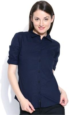 U&F Womens Solid Formal Blue Shirt