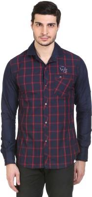 Human Steps Men's Checkered Casual Red, Dark Blue Shirt