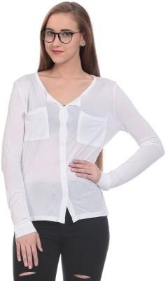 CLAUDE 9 Women's Solid Casual White Shirt