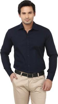 Alan Woods Men's Solid Casual Blue Shirt
