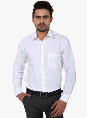Shine Shirts Men's Solid Formal White Shirt
