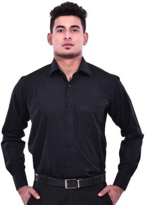 Aamnas Men's Solid Formal Black Shirt